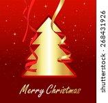 golden christmas tree banner | Shutterstock .eps vector #268431926