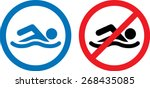 swimming area and no swimming... | Shutterstock .eps vector #268435085