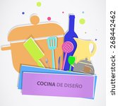 cuisine items colors on white...   Shutterstock .eps vector #268442462