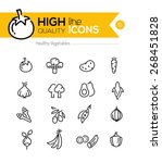 vegetables line icons including ... | Shutterstock .eps vector #268451828