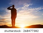 Soldier Salute. Silhouette On...