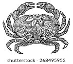 zentangle style crab vector  | Shutterstock .eps vector #268495952