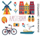 colorful amsterdam  related... | Shutterstock .eps vector #268499522