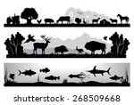 Stock vector set of black and white vector landscapes wildlife farm marine life 268509668
