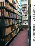 many books on bookshelf in... | Shutterstock . vector #268510442