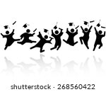 cheerful graduated students... | Shutterstock .eps vector #268560422