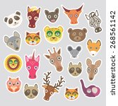 sticker set of funny animals... | Shutterstock .eps vector #268561142
