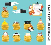 loan  coins with objects credit ...   Shutterstock .eps vector #268584956