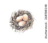 watercolor nest with bird eggs. ... | Shutterstock .eps vector #268588148