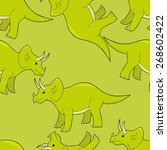smiling triceratops seamless... | Shutterstock .eps vector #268602422