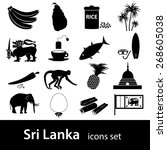 sri lanka country symbols black ... | Shutterstock .eps vector #268605038