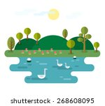 idyllic landscape with lake.... | Shutterstock .eps vector #268608095