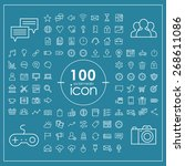 100 social media icons set over ...