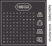 elegant 100 shopping icons set...