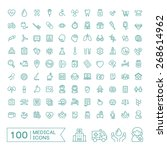 100 medical icons set over...