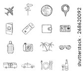 vector set of  sketch travel... | Shutterstock .eps vector #268620092