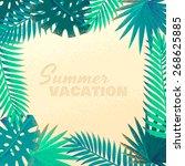palm leaves frame. retro vector ... | Shutterstock .eps vector #268625885