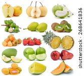 fruit collection isolated on... | Shutterstock . vector #268641836