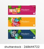 set of banners with stickers ... | Shutterstock .eps vector #268644722