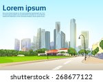 road to modern city view... | Shutterstock .eps vector #268677122