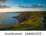 sunset on cornish cliffs  ocean ...