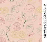 lemon seamless pattern | Shutterstock .eps vector #268687922