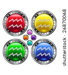 Round shiny vector button with aquarius zodiac symbol icon on colorful background - stock vector