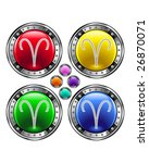 Round shiny vector button with aries zodiac symbol icon on colorful background - stock vector