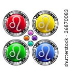 Round shiny vector button with leo zodiac symbol icon on colorful background - stock vector