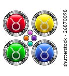 Round shiny vector button with taurus zodiac symbol icon on colorful background - stock vector