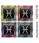 Square shiny vector button with pisces zodiac icon on black background - stock vector