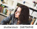 portrait of hipster girl in her ... | Shutterstock . vector #268706948