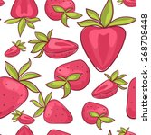 strawberry pattern on a white... | Shutterstock .eps vector #268708448