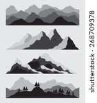 mountain set black | Shutterstock .eps vector #268709378