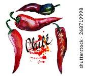 watercolor chili pepper | Shutterstock .eps vector #268719998