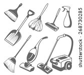 set of tools for cleaning on a... | Shutterstock .eps vector #268730285