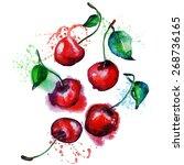 watercolor cherry | Shutterstock .eps vector #268736165