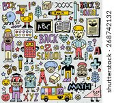back to school colorful doodle...   Shutterstock .eps vector #268742132