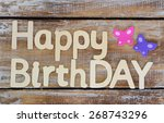 happy birthday written with... | Shutterstock . vector #268743296