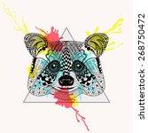 zentangle stylized raccoon face ... | Shutterstock .eps vector #268750472