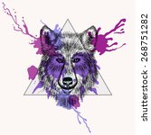 wolf face in triangle frame...   Shutterstock .eps vector #268751282