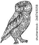 Stock vector zentangle style owl vector 268765058