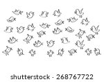set collection of cartoon birds vector line curve