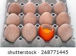 eleven imaginary wooden eggs in ... | Shutterstock . vector #268771445