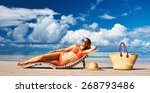 woman in bikini lying on... | Shutterstock . vector #268793486