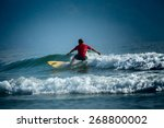 surfer riding the wave on the... | Shutterstock . vector #268800002