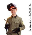 portrait of happy male welder... | Shutterstock . vector #268802126