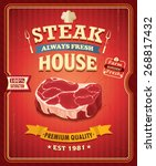 vintage steak house poster... | Shutterstock .eps vector #268817432