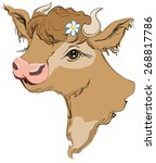 Brown Cow Head With A Flower I...