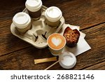paper cups of coffee latte and... | Shutterstock . vector #268821146